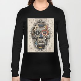 retro tech skull 2 Long Sleeve T-shirt
