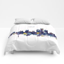 Detroit Skyline Silhouette Comforters