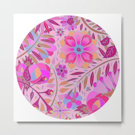 Bright Pink Floral Metal Print
