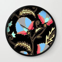 Suzani inspired on black Wall Clock