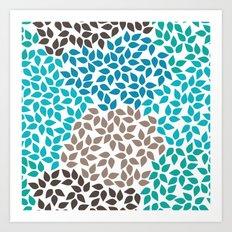 Blue leafs Art Print