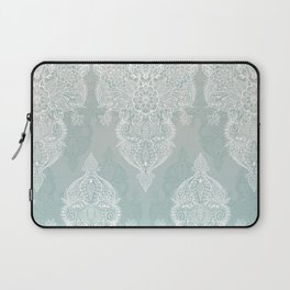 Lace & Shadows - soft sage grey & white Moroccan doodle Laptop Sleeve