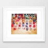sugar skulls Framed Art Prints featuring Sugar Skulls by Jenndalyn