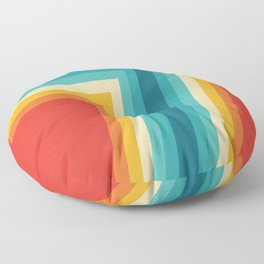 Colorful Retro Stripes  - 70s, 80s Abstract Design Floor Pillow