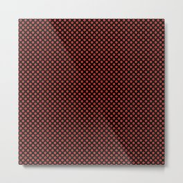 Black and Aurora Red Polka Dots Metal Print
