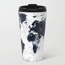 Black Ink World Map Travel Mug