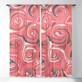 Red Apple Abstract Swirls Pattern Sheer Curtain