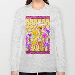 FUCHSIA-YELLOW IRIS GARDEN DESIGNS Long Sleeve T-shirt
