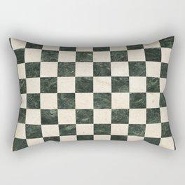 Vintage marbles black and white checkered floor illustration pattern Rectangular Pillow