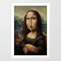 mona lisa Art Prints featuring Mona Lisa by Alexander Novoseltsev