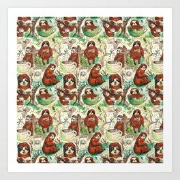 sloth in coffee pattern Art Print