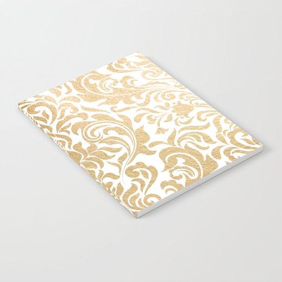 Gold foil swirls damask #12 Notebook