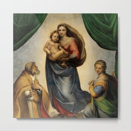 The Sistine Madonna Oil Painting by Raphael Metal Print