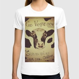 Go Vegan Now - Save Me And My Children Cow Mom T-shirt