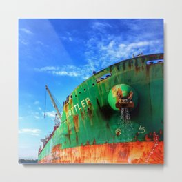 Rusty Ship in Port Metal Print