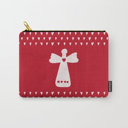 Christmas Angel with hearts on red Carry-All Pouch