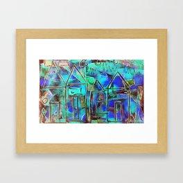 Neon Blue Houses Framed Art Print