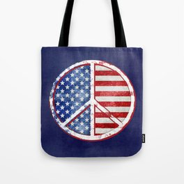 Watercolor Patriot Peace Symbol Stars and Stripes USA Flag Tote Bag