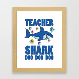 Teacher Shark Doo Doo With Great White Shark Framed Art Print