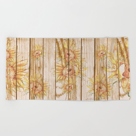 Vintage Sunflowers #9 Beach Towel