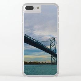 The Ambassador Bridge connects Detroit USA, & Windsor CA Clear iPhone Case