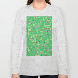 Flowers on green background Long Sleeve T-shirt