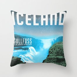 Iceland: Gullfoss Throw Pillow
