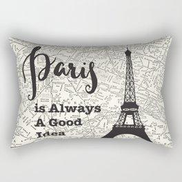 Paris is Always a Good Idea - Vintage Map Rectangular Pillow