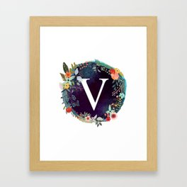 Personalized Monogram Initial Letter V Floral Wreath Artwork Framed Art Print