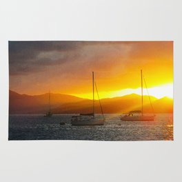 Norman Island Sunset - Sailboats at Sunset Rug