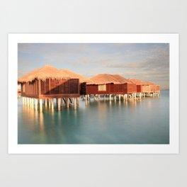 Tropical Maldives Sunrise Beach Bungalows Art Print