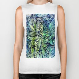 Blue Pen & Ink Butterflies Biker Tank