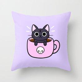 Pastel Coffee Cat Throw Pillow