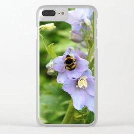Bee On Purple Flower Clear iPhone Case