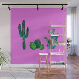 Gouache Watercolor cactus pink background Wall Mural