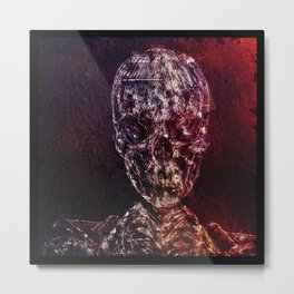 Skeleton Glitch Metal Print