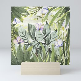 Tropical  lavender forest green watercolor floral Mini Art Print