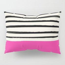 Bright Rose Pink x Stripes Pillow Sham
