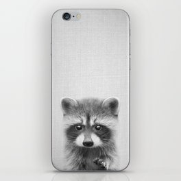Raccoon - Black & White iPhone Skin