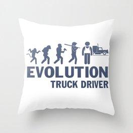 Evolution - Truck Driver Throw Pillow