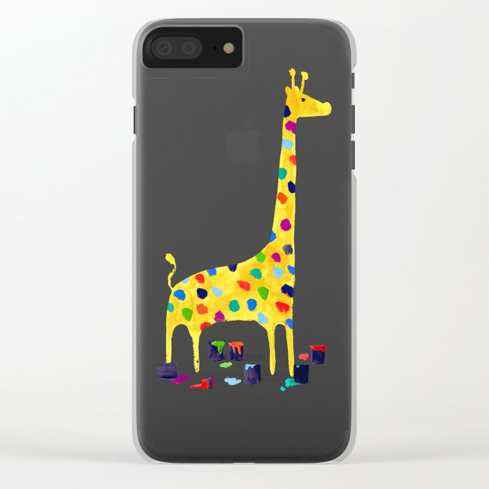 Paint by number giraffe Clear iPhone Case