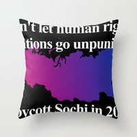 bisexual Throw Pillows featuring Boycott Sochi - Bisexual Flag Gradient by Boycott Sochi