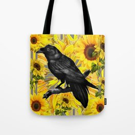 BLACK CROW/RAVEN & SUNFLOWERS FIELD Tote Bag