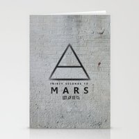 30 seconds to mars Stationery Cards featuring 30 Seconds to Mars - stencil on brick wall by sky0323