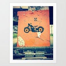 Motorcycle street art Art Print