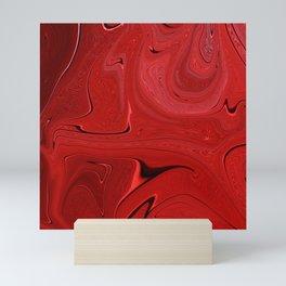 Red Liquid Marble Swirling Pattern Texture Artwork #3 Mini Art Print