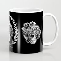 ohm Mugs featuring Screwed and tattooed Ohm Skull by Kristy Patterson Design