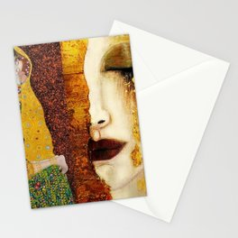 Gustav Klimt: The Kiss & Freya's Tears golden-red flower anemone college portrait painting Stationery Cards