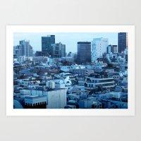 Density in Blue Art Print