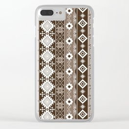 Colorful Aztec pattern with brown. Clear iPhone Case